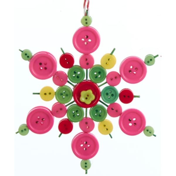 "5.25"" Bohemian Holiday Whimsical Button Design Snowflake Decorative Christmas Ornament"