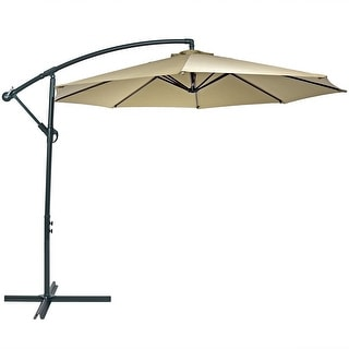 Lovely Sunnydaze Steel 10 Foot Offset Patio Umbrella With Cantilever, Crank, And  Cross Base