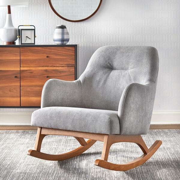 Lifestorey Mick Mid-century Modern Rubberwood Rocking Chair. Opens flyout.