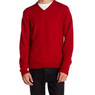 Weatherproof NEW Red Men Size Large L V-Neck Cashmere Pullover Sweater