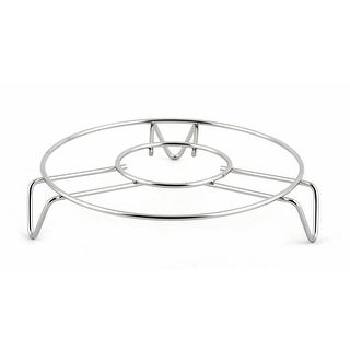 Home Stainless Steel Food Bowl Pan Holder Steaming Rack Silver Tone 13.5cm Dia
