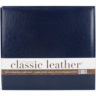 "We R Classic Leather Post Bound Album 12""X12""-Navy"