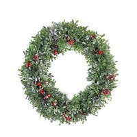 Boxwood, Holly and Cranberry Artificial Christmas Wreath - 20-Inch, Unlit - green