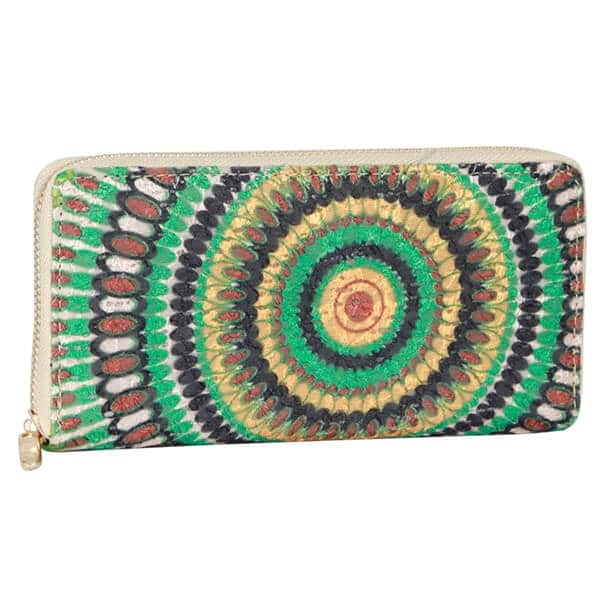 Mad Style Green Peacock Strut Zippered Wallet - Multi-color