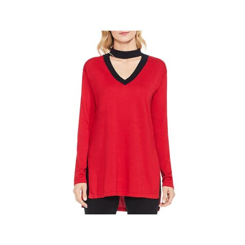 Vince Camuto Womens Choker Sweater Long Sleeves V-Neck