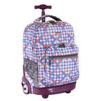 J World New York Sunrise 18 Inch Rolling Backpack, Checkmate