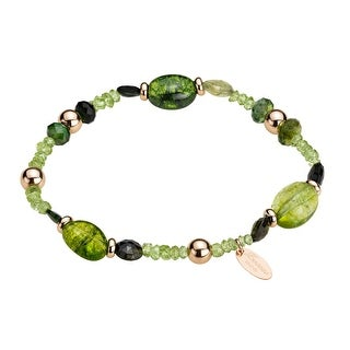 Zoccai 925 Green Quartz Bracelet in Pink Gold-Toned Sterling Silver