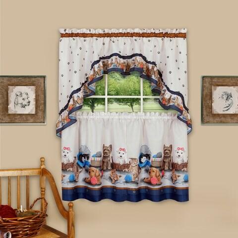 Precious 3-Piece Printed Kitchen Curtain Set, Blue, 57x30 Inches