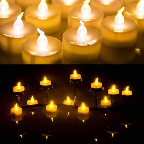 AGPtek 100pcs Flameless LED Candle Battery Operated Flickering Flashing Amber Tea Light - M