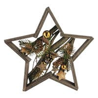 Decorated Mixed Branches in Star Wood Frame Christmas Table or Wall Decoration - GOLD