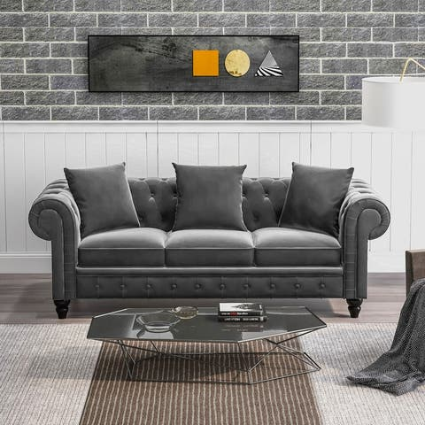 """[Pre Sale] 80"""" Sofa Velvet Upholstered 3 Seat Sofa with 3 Pillows"""