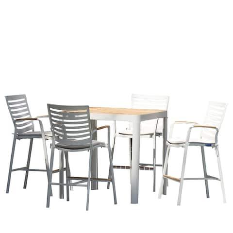 5 Piece Aluminum Bar Set with Fabric Padded Seat, White