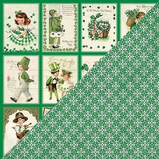 """3x4 Vintage Greetings - Shamrock Double-Sided Cardstock 12""""X12""""(18/pack)"""