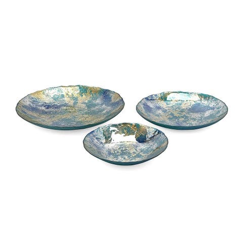 """Set of 3 Blue and Brown Round Shape Athena Glass Chargers 19.75"""""""