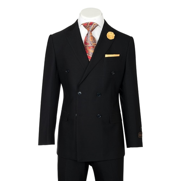 Merlot, Modern Fit, Black, Pure Wool Men's Suit by Tiglio Luxe TIG1001
