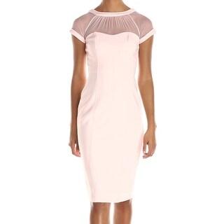 London Times NEW Pink Cap-Sleeve Crepe Mesh Women's 8 Sheath Dress