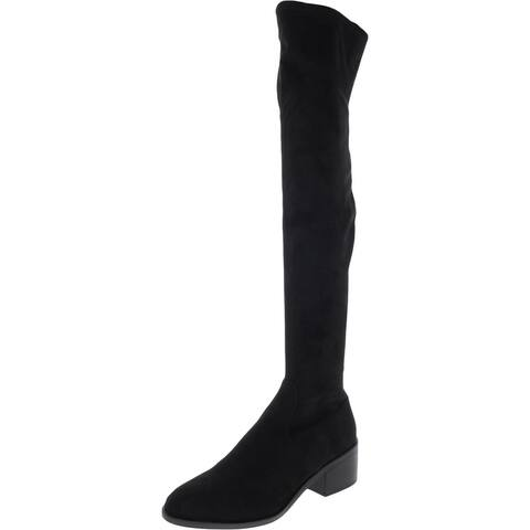 Steve Madden Womens Georgette Over-The-Knee Boots Almond Toe Block Heel - Black