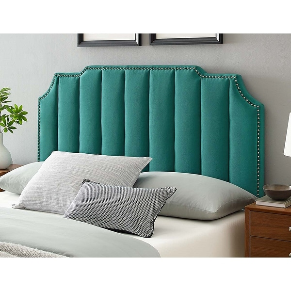 Littleton Channel Tufted Green Velvet Upholstered Twin Size Headboard with Nailhead Trim. Opens flyout.
