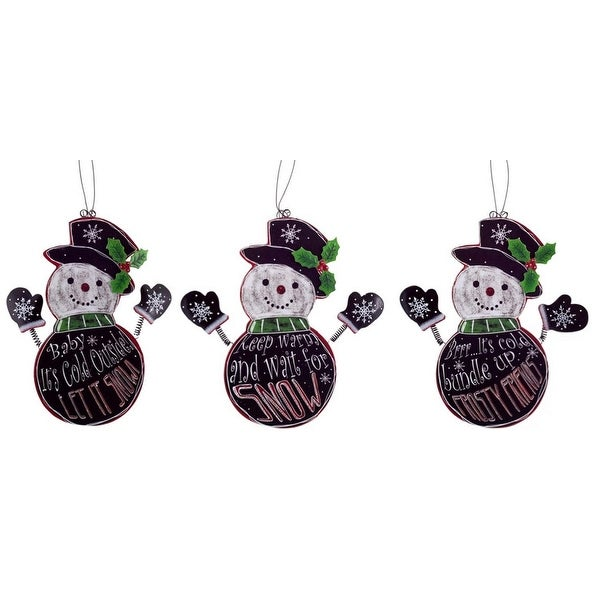 Pack Of 6 Black And White Snowmen With Holiday Sayings Christmas Ornaments 9 5 N A
