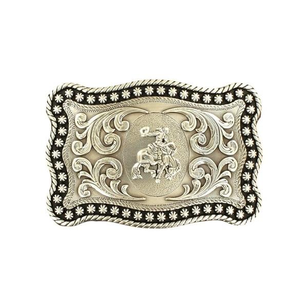 "Nocona Western Belt Buckle Saddle Bronc Stars Rope Silver - 3 7/8"" x 2 3/4"""