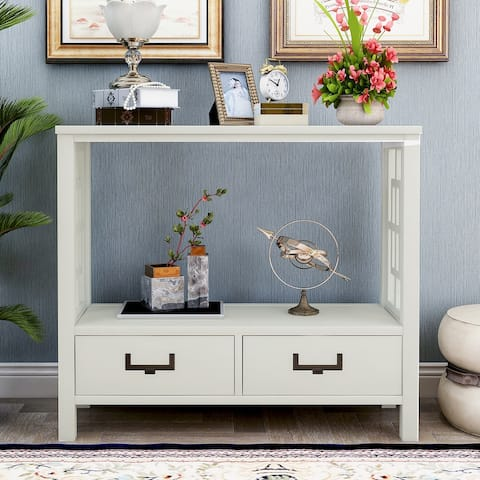 White Entryway Console Sofa Table with Two Bottom Drawers