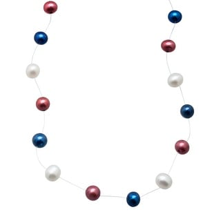 Americana Freshwater Pearl Floater Necklace in Sterling Silver - Multi-Color