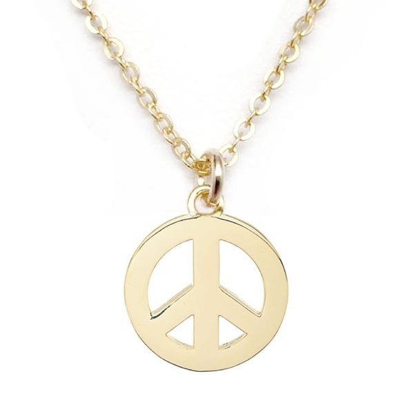"Julieta Jewelry Peace Sign Gold Charm 16"" Necklace"