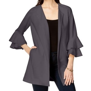 Kensie NEW Gray Women's Size Small S Bell-Sleeve Tiered Open Jacket