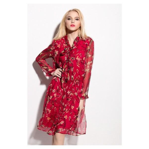Red Chiffon Full Length Dress