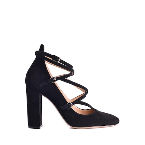 Gianvito Rossi Women's Black Suede Strappy Pumps