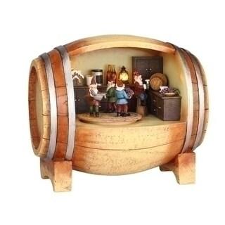Amusements LED Lighted Revolving Musical Elves in a Wine Barrel Christmas Figure