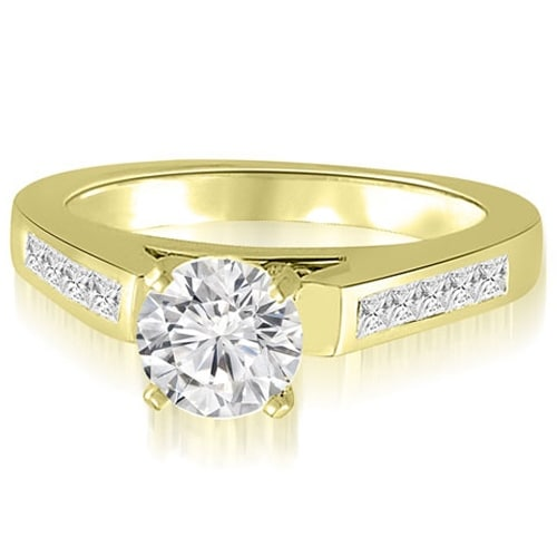 1.10 cttw. 14K Yellow Gold Round And Princess Cathedral Diamond Engagement Ring
