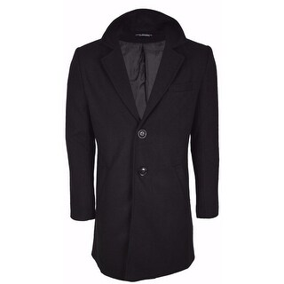 Men's Black Wool Blend Tailored SLIM FIT Top Coat Jacket L