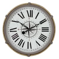 """Aspire Home Accents 5490  17.5"""" Seabrook Metal Analog Wall Clock"""