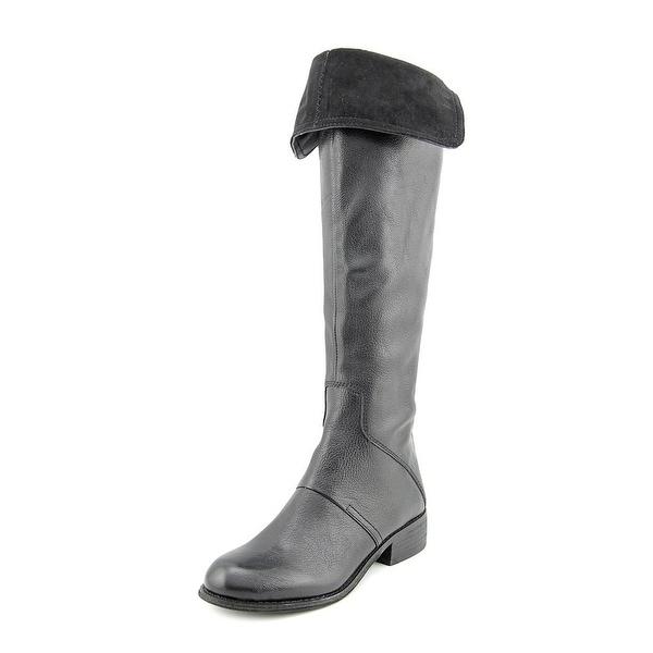 Nine West Noriko Women Round Toe Leather Black Knee High Boot