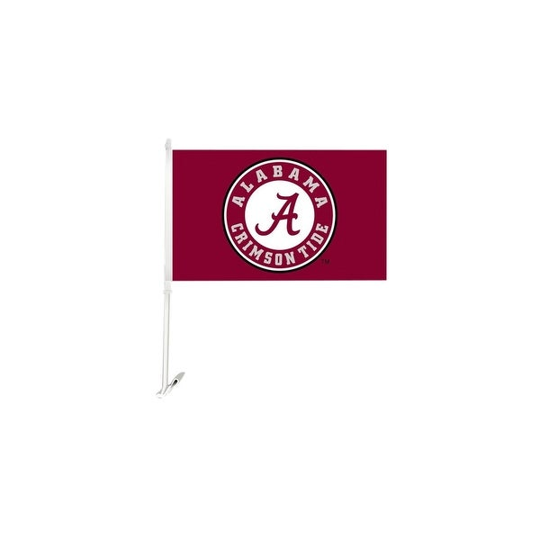 Bsi Products Inc Alabama Crimson Tide Car Flag With Wall Brackett Car Flag