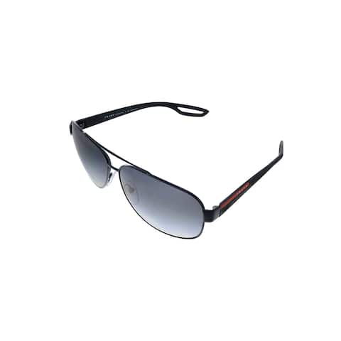 Prada Linea Rossa PS 58QS 1AB5W1 63mm Unisex Black Frame Grey Polarized Lens Sunglasses