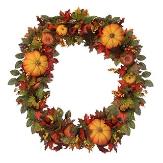 """36"""" Fall Traditions Pumpkin, Gourd and Berry Artificial Thanksgiving Wreath"""