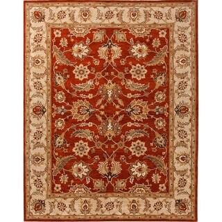 4' x 8' Burnt Orange and Sandstone Brown Selene Classic Hand Tufted Wool Area Throw Rug Runner