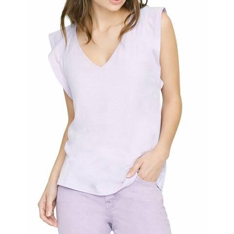 Sanctuary Women's Top Lavender Purple Size XL V Neck Flutter Sleeve
