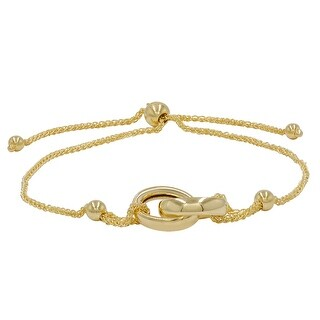 Amanda Rose Interlocking Circle Bolo Bracelet in 14k Yellow Gold (Adjustable)