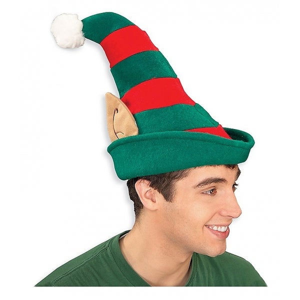 Striped Elf Hat with Ears Adult Costume Accessory