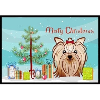 Carolines Treasures BB1576MAT Christmas Tree & Yorkie Yorkishire Terrier Indoor or Outdoor Mat 18 x 27