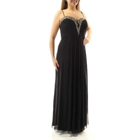 BETSY & ADAM Womens Black Spaghetti Strap Sweetheart Neckline Maxi A-Line Formal Dress Plus Size: 14W