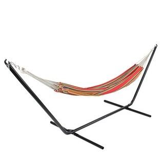 """77"""" Multi-Color Striped Woven Cotton Single Brazilian Hammock - Multi"""