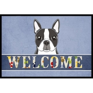 Carolines Treasures BB1389MAT Boston Terrier Welcome Indoor & Outdoor Mat 18 x 27 in.