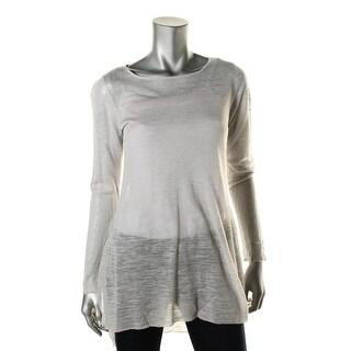 Eileen Fisher Womens Tunic Top Linen Blend Jewel Neck