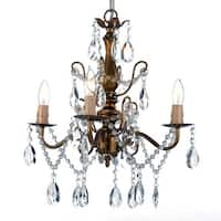 """Harrison Lane SCL1490CG 4 Light 15"""" Wide Single Tier Chandelier with Hanging Crystal Accents and Brown Faux Candles"""