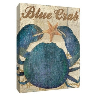 """PTM Images 9-154736  PTM Canvas Collection 10"""" x 8"""" - """"Ocean Delicacies I"""" Giclee Crabs Textual Art Print on Canvas"""