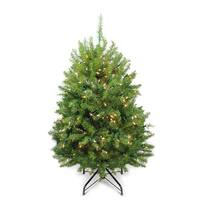 4' Pre-Lit Northern Pine Full Artificial Christmas Tree - Clear Lights - green